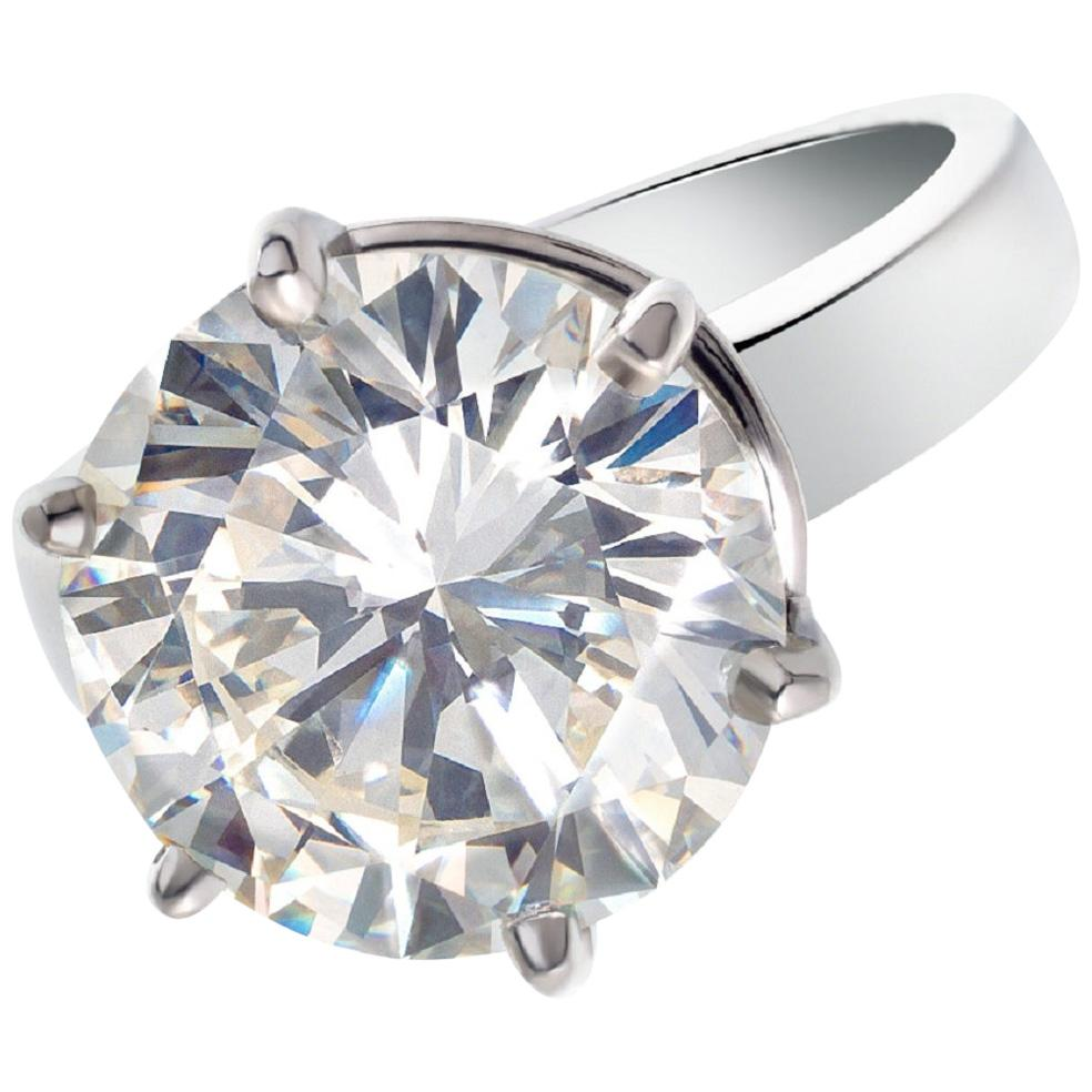 GIA Certified 3 Carat Round Brilliant Cut Diamond Solitaire Ring