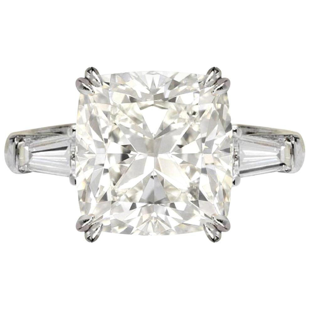 HRD Antwerp 2.80 Carat Three-Stone Cushion Diamond Ring