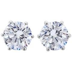 GIA Certified 3 Carat Brilliant Cut Diamond Studs D Color VS1 Clarity