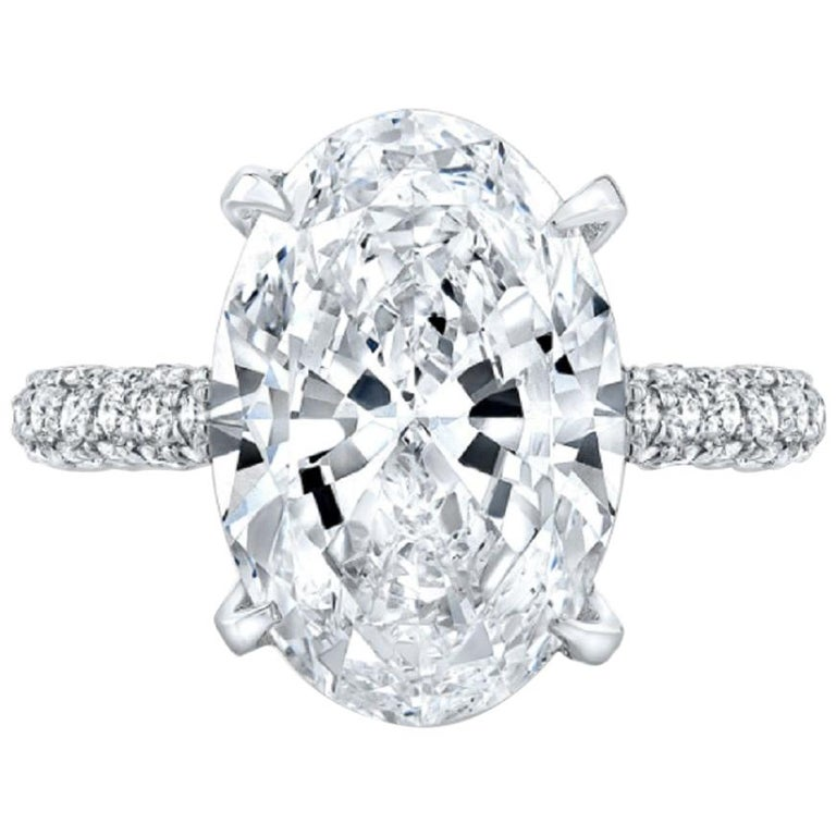 Gia Certified 3.65 Carat Oval Solitaire Ring D Color VS2 For Sale