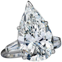 HRD Antwerp 5.62 Carat Pear Cut Diamond Ring