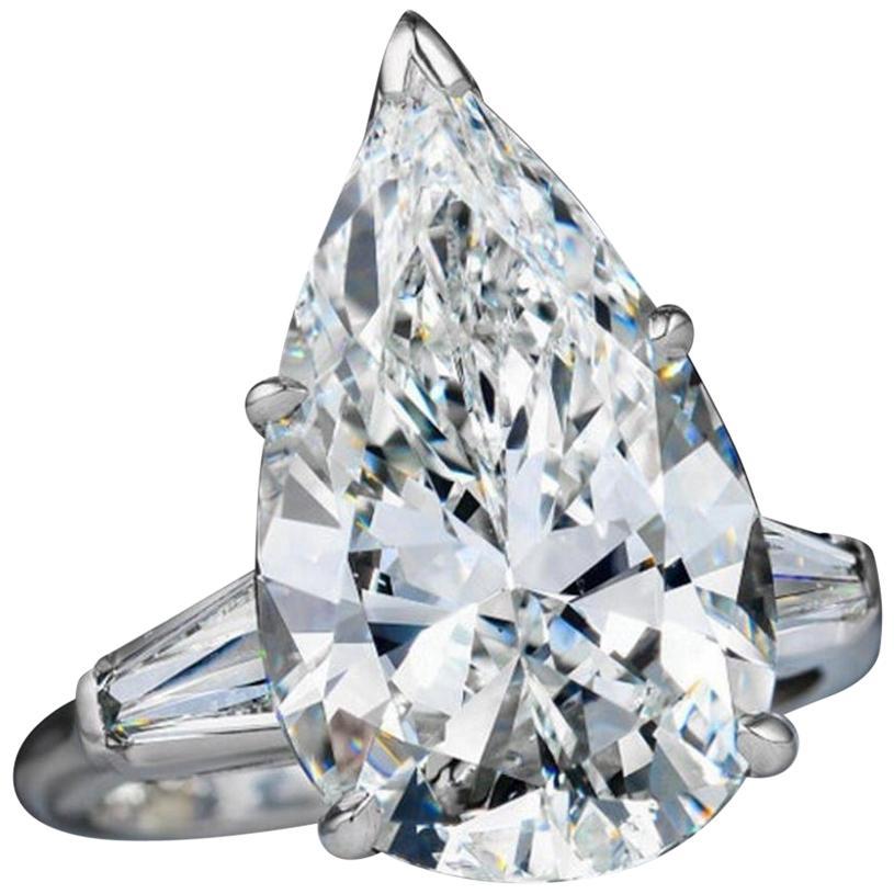 GIA Certified 4.65 Carat Pear Cut Diamond Ring