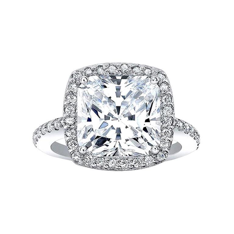 GIA Certified 6 Carat Cushion Cut Diamond Excellent Cut For Sale