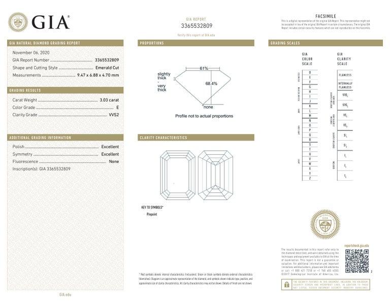 GIA VVS E Color 3.40 Carat Emerald Cut Diamond Ring In New Condition For Sale In Rome, IT