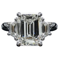 GIA VVS E Color 3.40 Carat Emerald Cut Diamond Ring