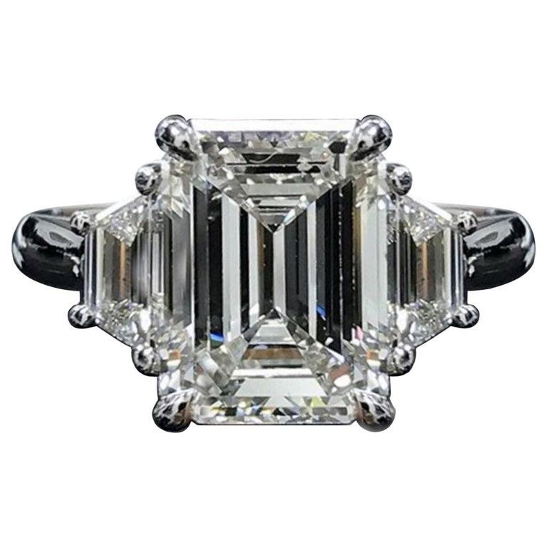 GIA VVS E Color 3.40 Carat Emerald Cut Diamond Ring For Sale