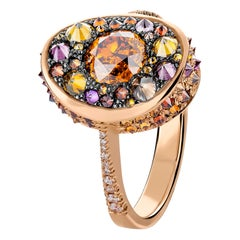 HRD Certified 0.82 Carat Fancy Intense Orange Diamond Pave Cocktail Ring
