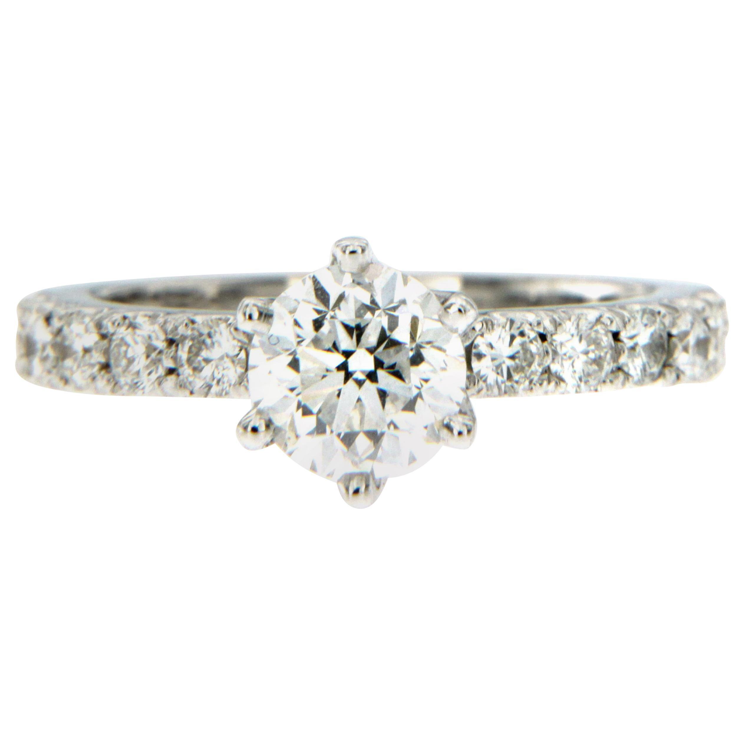 HRD Certified 1 Carat Diamond Gold Engagement Ring