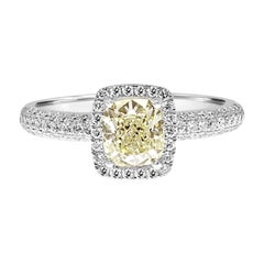 HRD Certified 1.02 Carat Cushion Cut Diamond Pave Halo Engagement Ring