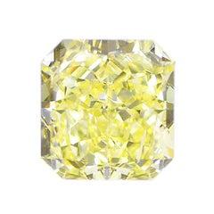 HRD Certified 1.45 Carat Fancy Yellow VS2 VG/VG Radiant Loose Diamond