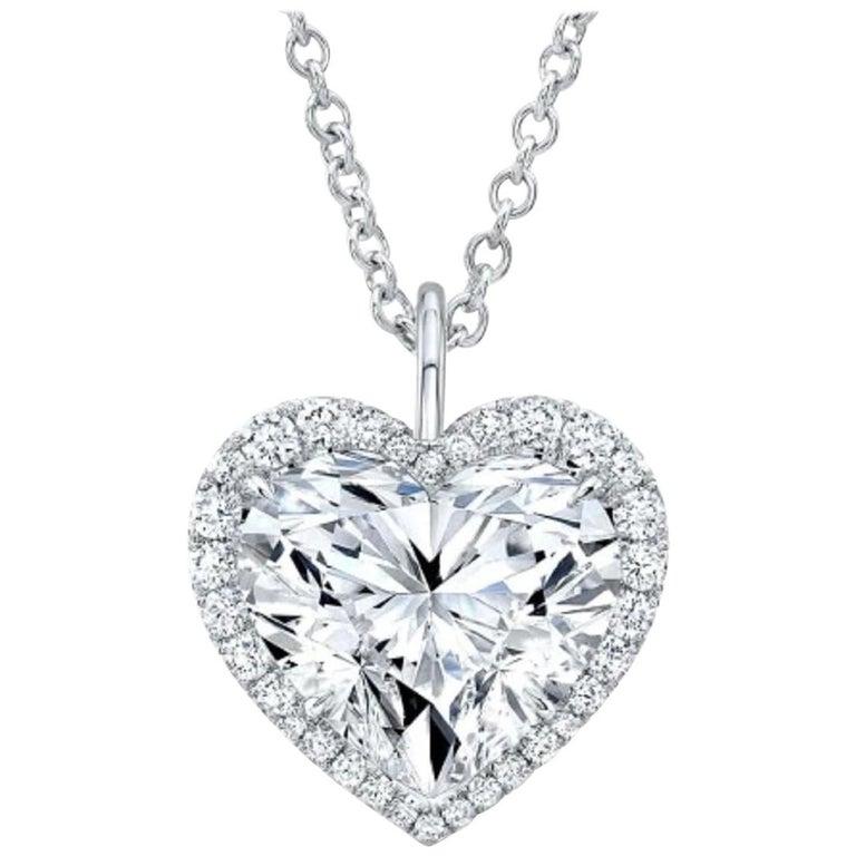 GIA EXCEPTIONAL 2.41 Carat Heart Shape Diamond D Color VS2 Necklace Platinum For Sale