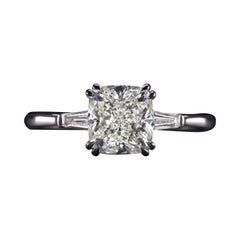 HRD Certified 2.90 Carat Cushion Diamond Ring Triple Excellent VVS1