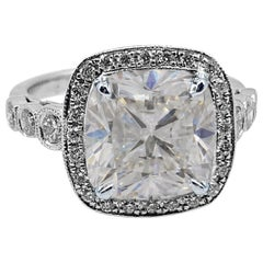 HRD Certified 3 Carat VVS Cushion Cut Diamond Engagement White Gold Ring