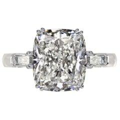 HRD Certified 4.10 Carat Cushion Cut Diamond Cocktail Ring