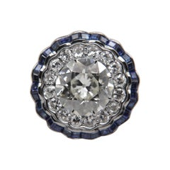 HRD Certified 5.03 Carat Old Cut Diamond and Blue Sapphire Ring in 18 Karat Gold