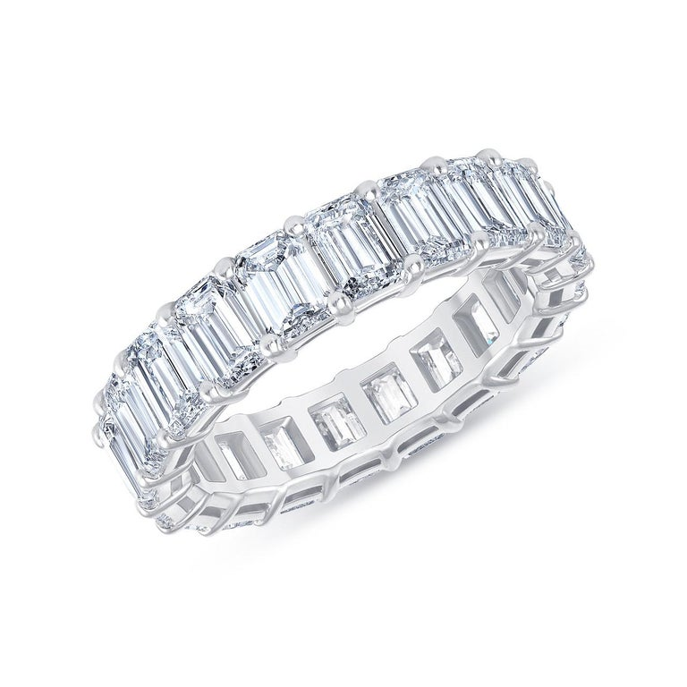 Contemporary HRD Certified 5.65 Carat Emerald Cut White Diamond Eternity Ring or Band Rings For Sale
