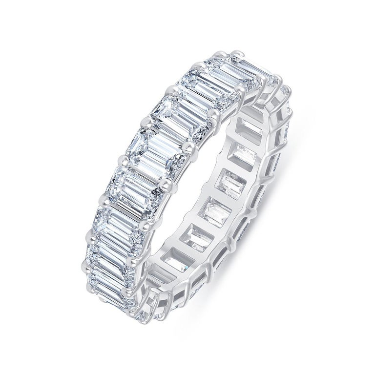 Women's or Men's HRD Certified 5.65 Carat Emerald Cut White Diamond Eternity Ring or Band Rings For Sale