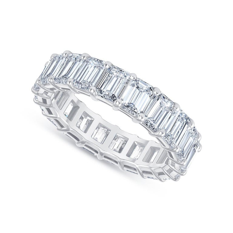 HRD Certified 5.65 Carat Emerald Cut White Diamond Eternity Ring or Band Rings For Sale 1
