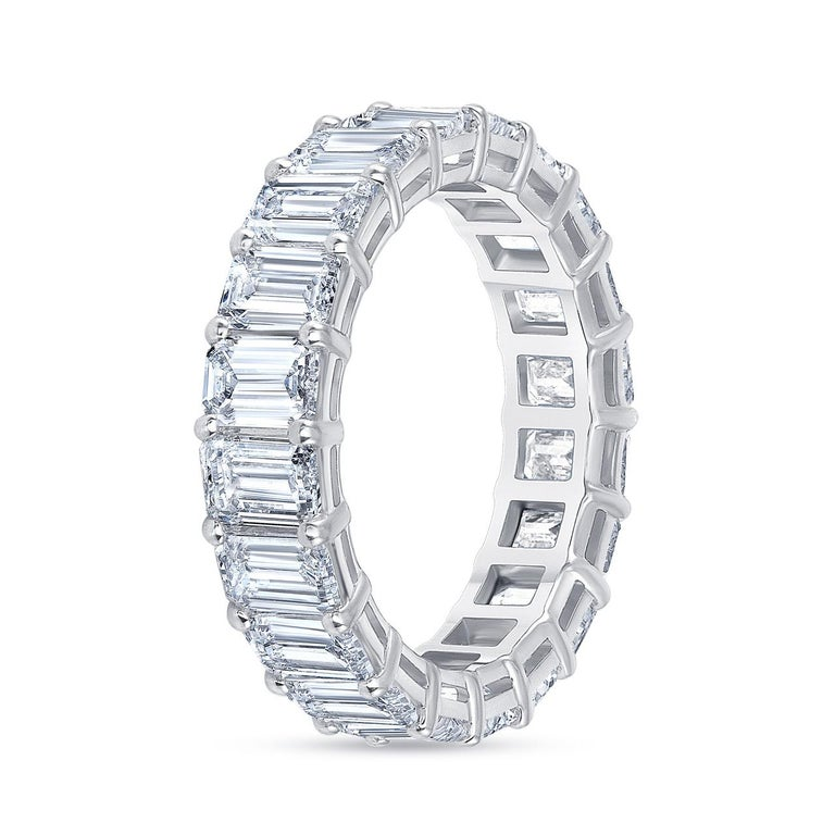 HRD Certified 5.65 Carat Emerald Cut White Diamond Eternity Ring or Band Rings For Sale 2