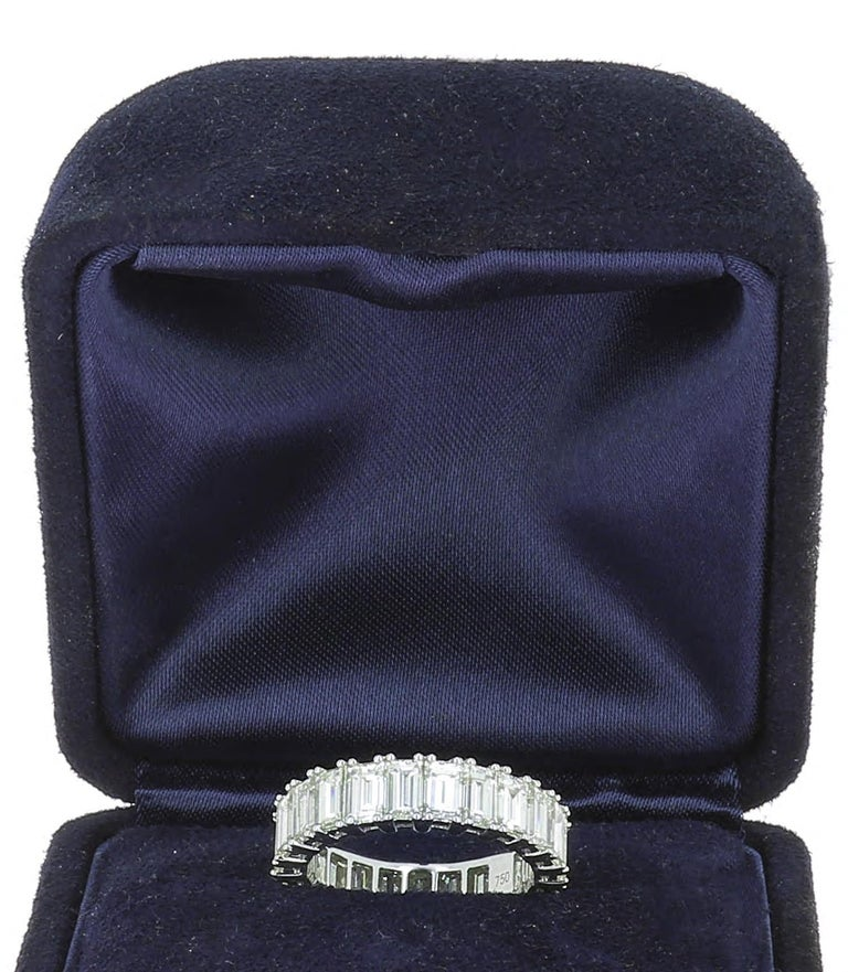 HRD Certified 5.65 Carat Emerald Cut White Diamond Eternity Ring or Band Rings For Sale 3