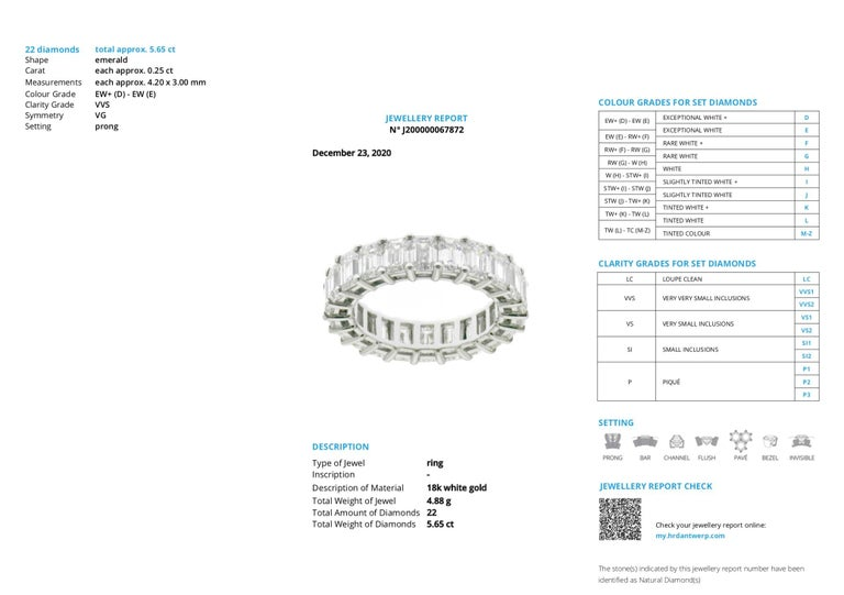 HRD Certified 5.65 Carat Emerald Cut White Diamond Eternity Ring or Band Rings For Sale 4