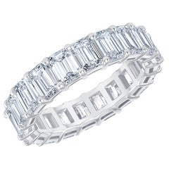 HRD Certified 5.65 Carat Emerald Cut White Diamond Eternity Ring / Band Rings