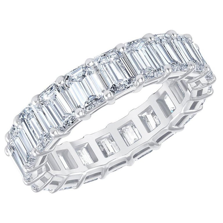 HRD Certified 5.65 Carat Emerald Cut White Diamond Eternity Ring / Band Rings For Sale