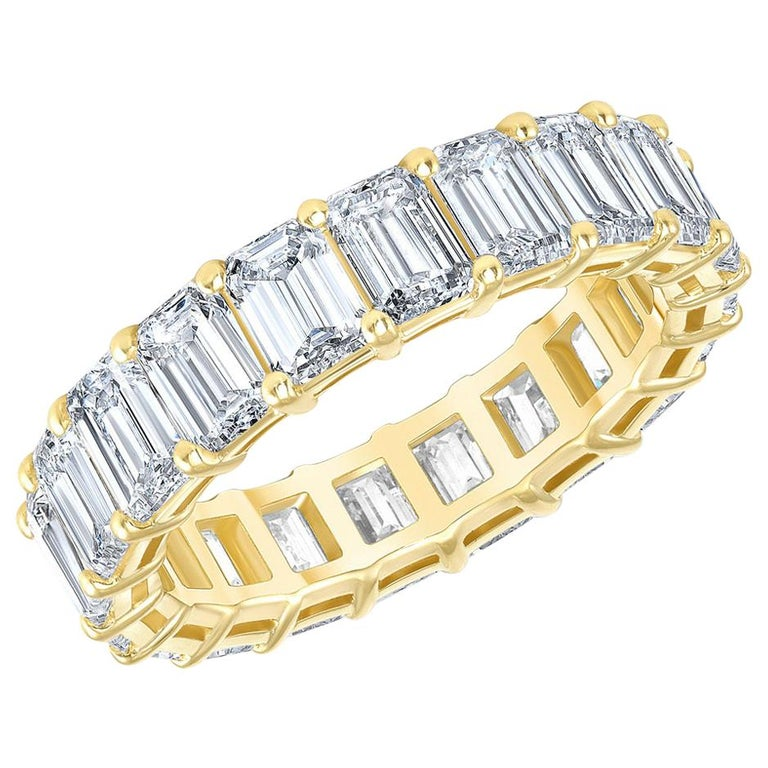 HRD Certified 5.65 Carat Emerald Cut White Diamond Eternity Ring or Band Rings For Sale