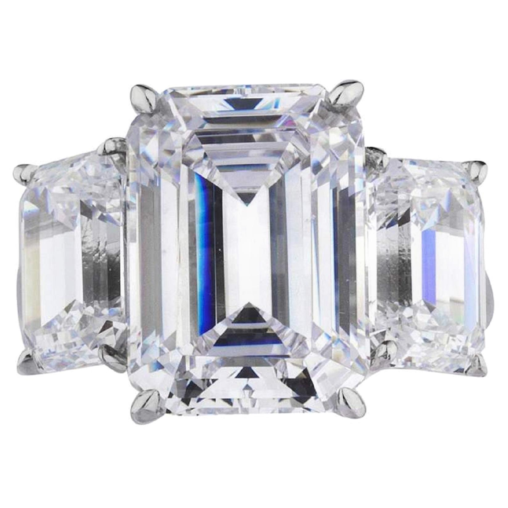 HRD GIA 6.87 Carat Three-Stone Emerald Cut Diamond Engagement Ring