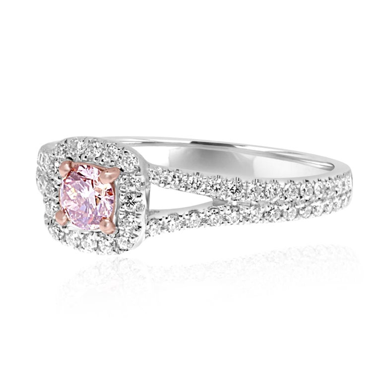 HRD Certified Fancy Yellowish Pink Diamond Halo Solitaire