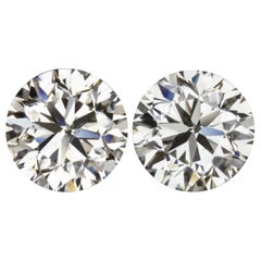HRD IGI Certified 5.04 Carat Round Brilliant Cut Diamond Studs 100% Eye Clean