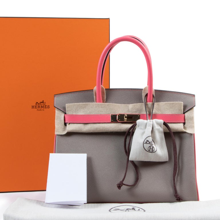 Hermes HSS horseshoe special order birkin 30cm bi color with gris asphalt and rose azalee. Rose azalee is a stunning saturated pink color, one of the most exclusive Hermès colors. The combination with the smooth gris asphalt makes this bag a one of