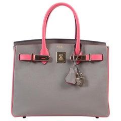HSS *Special order* Hermès Birkin 30 Epsom Gris Asphalt / Rose Azalee PHW