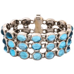 H.Stern 1990 Highly Flexible Triple-Row Cabochon Blue Topaz White Gold Bracele
