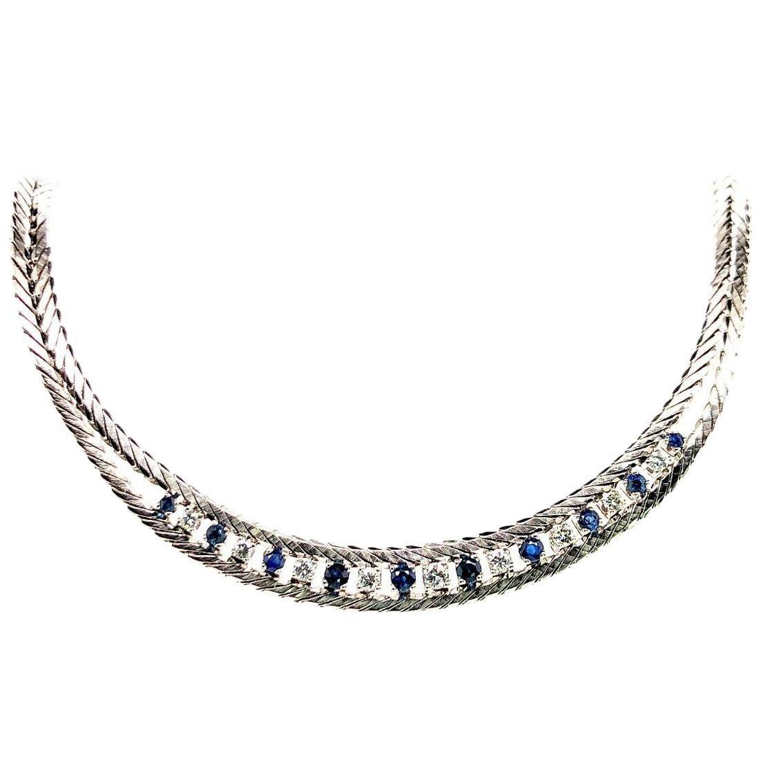 H.STERN Company 18 Karat White Gold Sapphire and Diamond Necklace