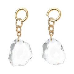 H.Stern DVF 104.86 Carat Rock Crystal 18 Karat Gold Diamond Pendant Earrings