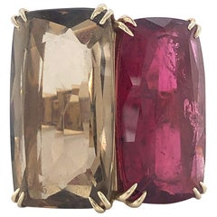 H.Stern Ring with Tourmaline and Smoky Quartz in Yellowgold 750