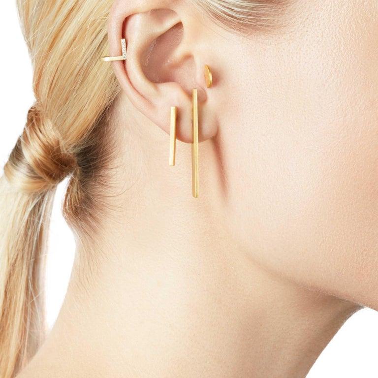 Artisan Diamond 18-Karat Yellow Gold Curve Earrings For Sale