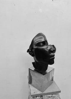 "Black Granite &Stainless Steel Sculpture ""She"", 2017"