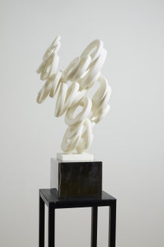 """White Marble&Stainless Sculpture """"Chaos Theory-Cumulation"""", 2020"""