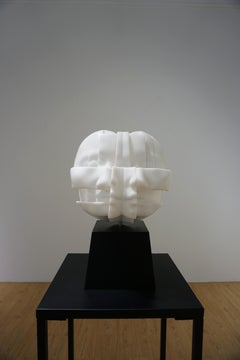 """White Marble&Stainless Sculpture """"She and She"""", 2018"""