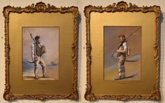 """Oil Painting Pair by H.T Dennis """"Somerset Labourers"""""""