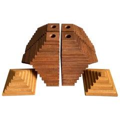 Huacas, 6 Piece Large Set, Wood Walnut and Lenga Beech Oak, 1st Edition