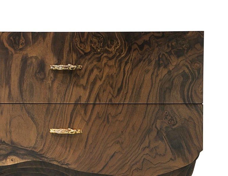 Art Deco Huang Bedside Table with Walnut Root Veneer and Brushed Brass Detail For Sale