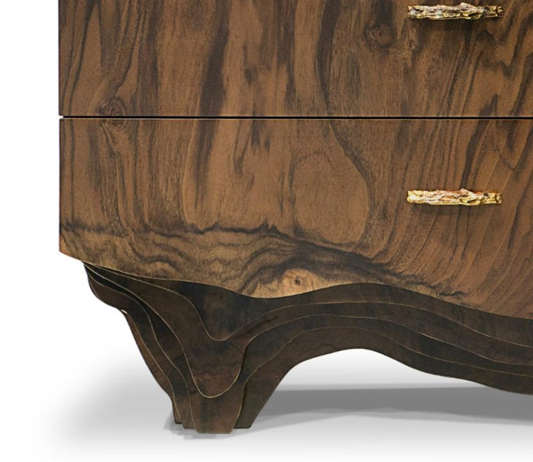 Portuguese Huang Bedside Table with Walnut Root Veneer and Brushed Brass Detail For Sale