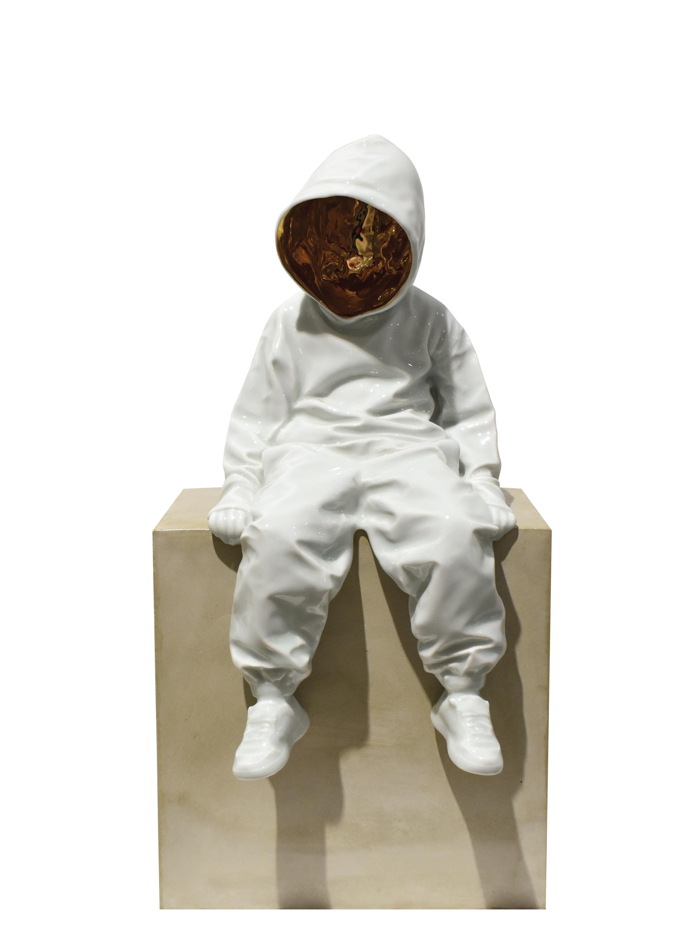 """The Top Dog"", Porcelain Sculpture & Concrete Bench, Limited Edition, 2020"