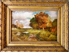 Ecole de Barbizon - French Framed Oil Painting Cows in a landscape