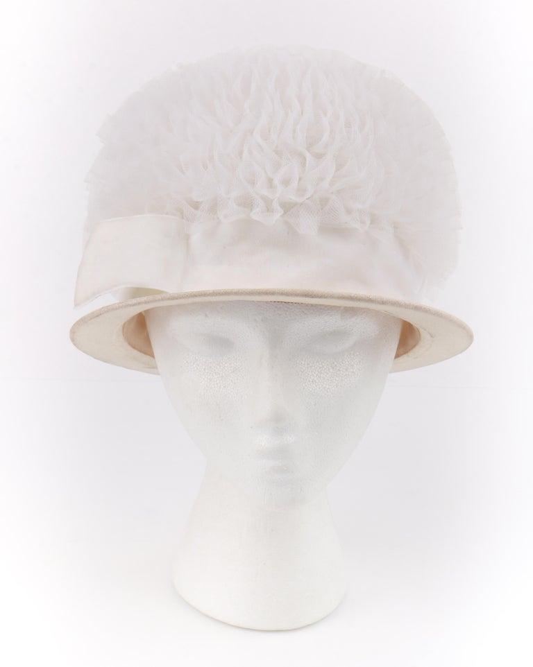 Gray HUBERT de GIVENCHY Adaptation c.1950's Gathered Tulle Velvet Ribbon Cloche Hat For Sale