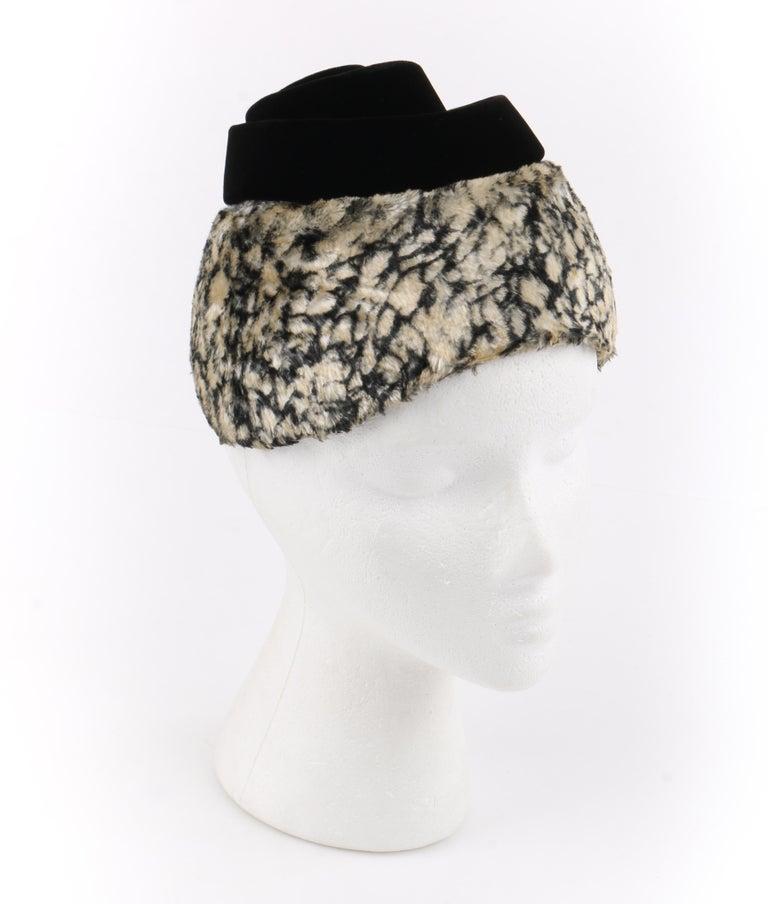 HUBERT de GIVENCHY c.1950's Silk Velvet Juliette Calot Cap Hat For Sale 5