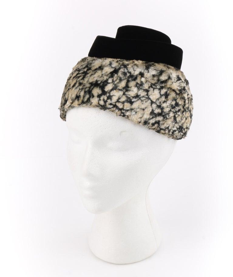 HUBERT de GIVENCHY c.1950's Silk Velvet Juliette Calot Cap Hat For Sale 6
